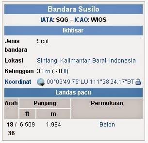 Bandar Udara Susilo, SIntang Kalimantan Barat